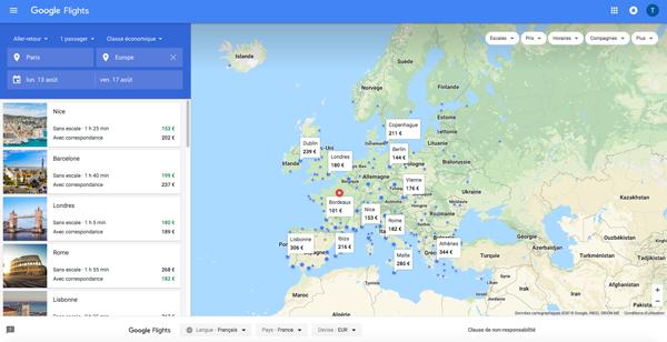 Google Flights recherche des billets au meilleurs prix