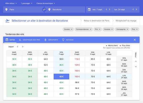 Sélectionner un aller moins chère sur google flights