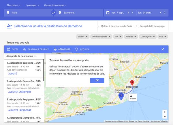 Trouver des Aéroports moins chers sur Google flights